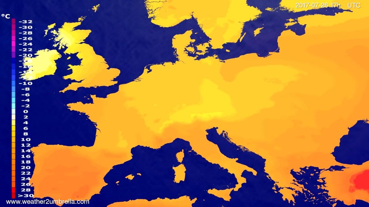 Temperature forecast Europe 2017-07-24