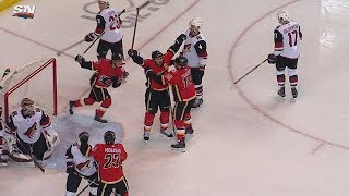 Mark Giordano buries a beautiful goal on the backhand by NHL