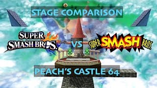 Peach's Castle 64 STAGE COMPARISON! (64 vs. Wii U)