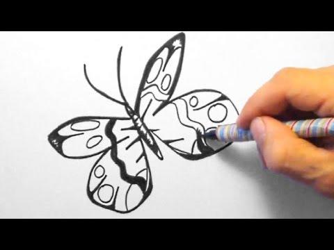 Schmetterling, zeichnen für Anfänger (Butterfly, drawing for beginners)[HD]