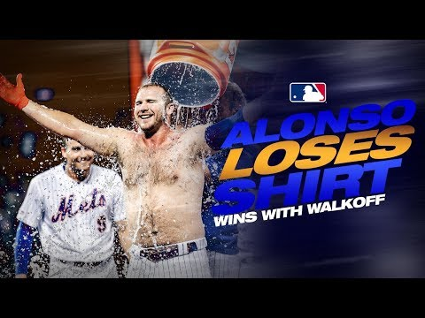 Video: Alonso loses his shirt in Mets walk-off win!