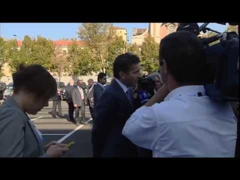 Arrival and doorstep, Eurogroup President Dijsselbloem (12 September 2014)