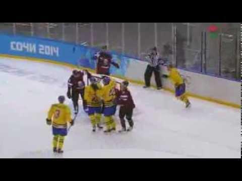 Jimmie Ericsson Goal –  Sweden v Latvia – 2014 Hockey Olympics