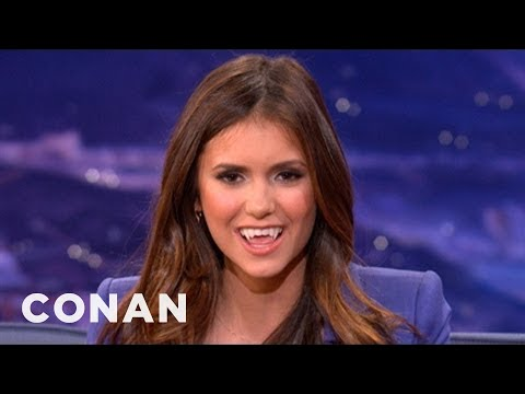 shows - Nina Dobrev makes a sexy vampire face! Conan... not so much.