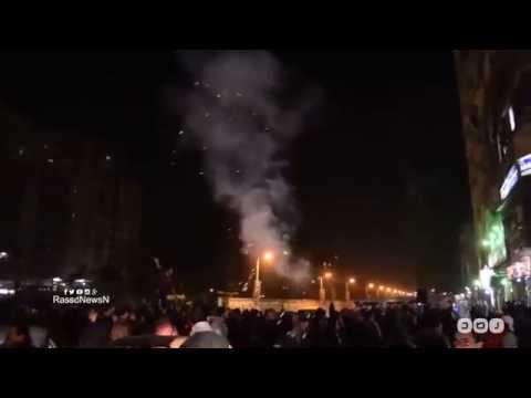 لحظة أطلاق المتظاهرين الألعاب النارية بمزلقان عين شمس