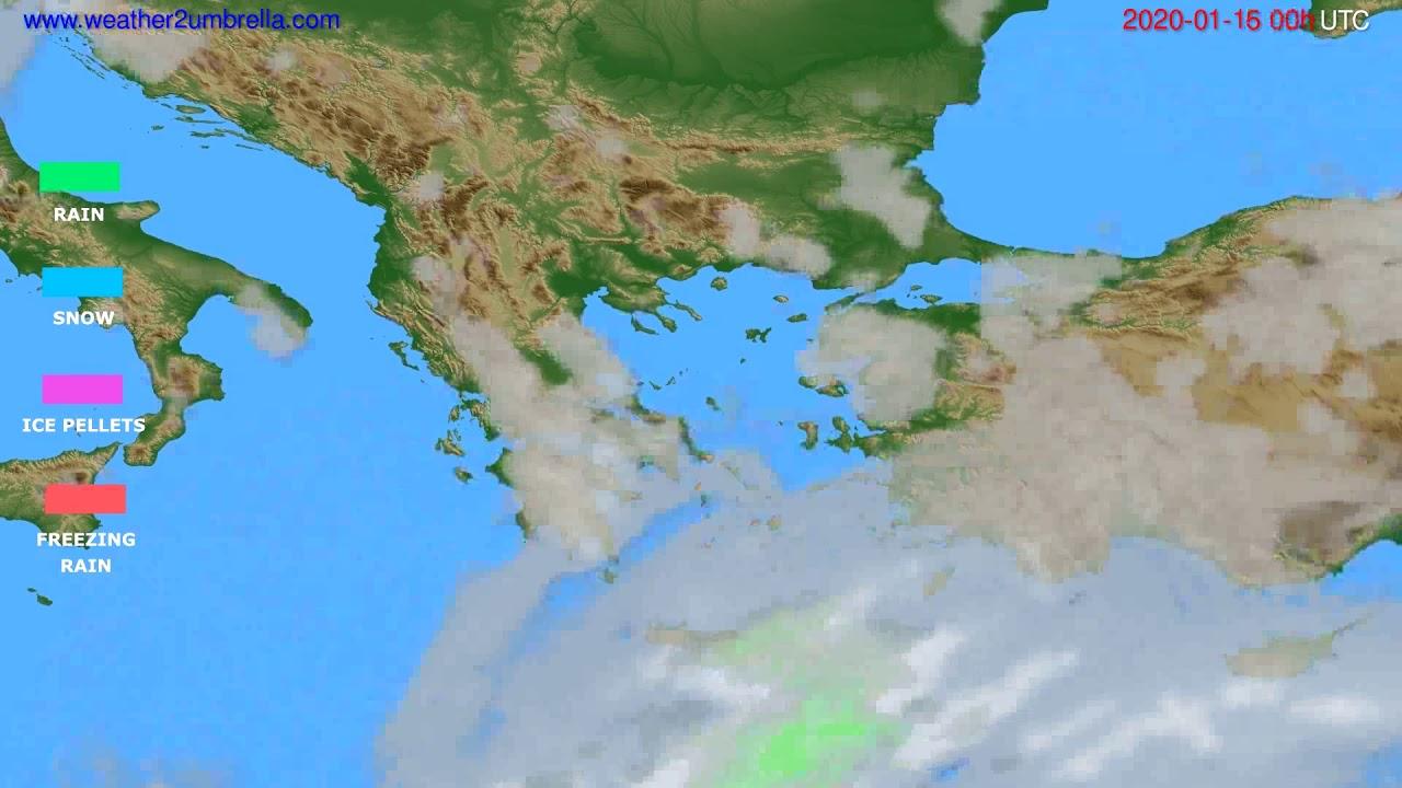 Precipitation forecast Greece // modelrun: 00h UTC 2020-01-15