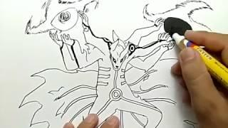 cara menggambar naruto mode kyubi kurama dengan rasengan