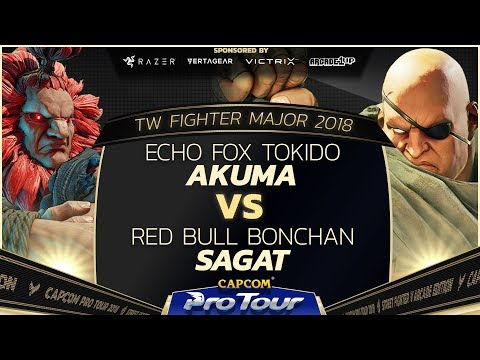 Echo Fox Tokido (Akuma) vs Red Bull Bonchan (Sagat) - TW Fighter Major 2018 Top 16 - SFV - CPT 2018