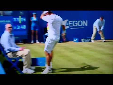 kicks linesman - David Nalbandian booting a linesman at queens tennis final 2012.