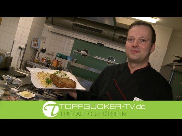 Biertreberschnitzel mit warmen Djionsenf-Speck-Kartoffelsalat | Rezeptempfehlung Topfgucker-TV