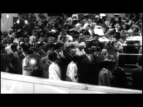 Anastas Mikoyan inaugurates Soviet Trade Fair in Tokyo, Japan. HD Stock Footage