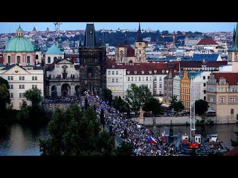 Demonstrationen in Prag am Jahrestag des Einmarschs d ...