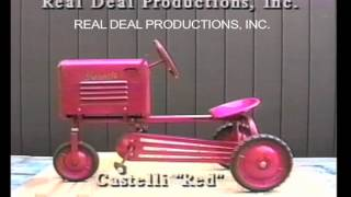 """Information on the Castelli Pedal Tractor.  From our video on pedal tractors. It includes a visual descriptive study of each pedal tractor. Check out our facebook page """"Pedal Tractors"""" or our website www.arealdealproductions.com. We carry  a full line of pedal parts and pedal tractors."""