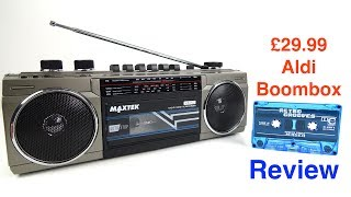 The Aldi supermarket chain (including online) in the UK is selling a new 'boombox' for fathers' day 2017. For £29.99 you get a cassette recorder, MP3 player, Bluetooth speaker and radio....but just how good (or bad) is it?https://www.aldi.co.uk/c/specialbuys/dates/2017-06-08Extra Info - 1) Extra Testing revealed this to be a Mono device. Both speakers function, however they play the same audio as one another. All the recording and playback features are monaural (including through the 3.5mm headphone socket).2) Music File Types- The  files I tried were 320Kbps MP3s.-------------SUPPORT---------------This channel can be supported through Patreon https://www.patreon.com/techmoanPatrons usually have early access to videos---------------SUBSCRIBE------------------ http://www.youtube.com/user/Techmoan?sub_confirmation=1-------THANKS TO -------Jerobeam Fenderson for the intro animation: http://oscilloscopemusic.com/----------Outro Music-----------Over Time - Vibe Tracks https://youtu.be/VSSswVZSgJw------Outro Sound Effect------ThatSFXGuy - https://youtu.be/5M3-ZV5-QDMAnders Enger Jensens Retro Grooves Vol1 album can be streamed from http://eox.no/