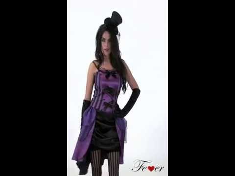 Déguisement burlesque de cabaret, violet