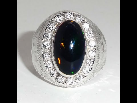 Natural handmade ring black Fire opal with nice multiple colors Ring002