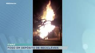 Fogo destrói depósito de recicláveis em Itapuí