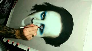 Drawing time lapse portrait Marilyn Manson art, speed art n