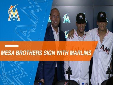 Video: Marlins introduce Mesa and Mesa Jr.