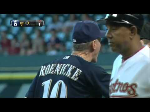 Roenicke - MIL@HOU: Greinke, Roenicke ejected in bottom of first.