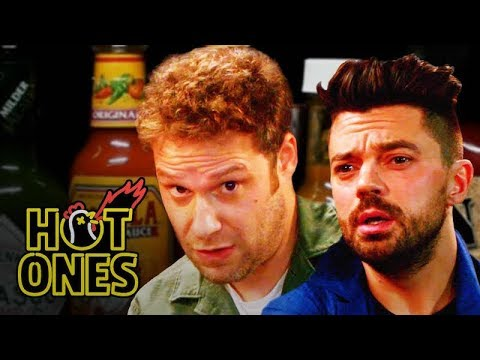 Seth Rogen and Dominic Cooper Suffer Through the Hot Ones Spicy Wing Challenge