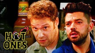 Seth Rogen and Dominic Cooper Suffer While Eating Spicy Wings | Hot Ones
