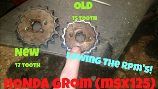 10. HONDA GROM SPROCKET UPGRADE! 15 TO 17 LOWER RPMS! (MSX 125)