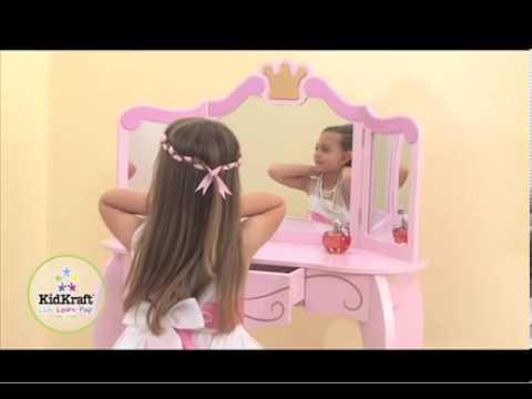Kidkraft roze Prinses kaptafel met krukje