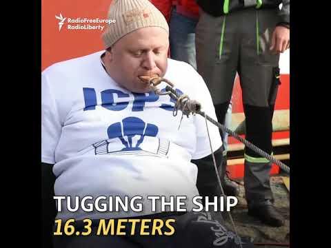 Mies vetää laivaa hampaillaan – Nyt on vahvat hampaat ja leuat