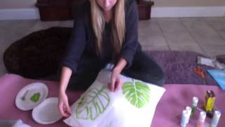 How To Paint Your Own Throw Pillows - YouTube