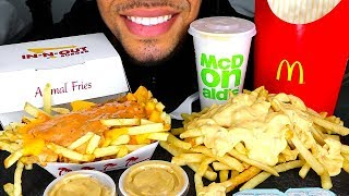 ASMR MCDONALD'S VS IN-N-OUT ANIMAL STYLE FRIES MUKBANG *NO TALKING* JERRY SAVAGE MESSY EATING SOUNDS