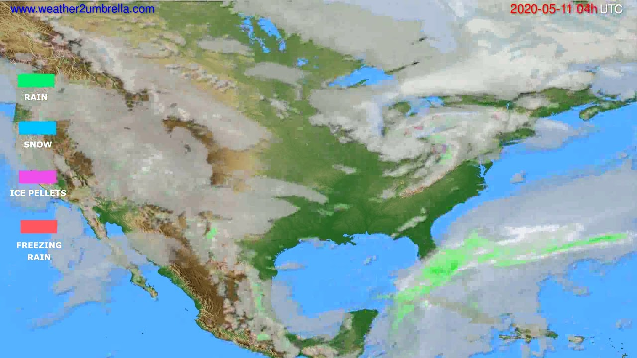 Precipitation forecast USA & Canada // modelrun: 12h UTC 2020-05-10