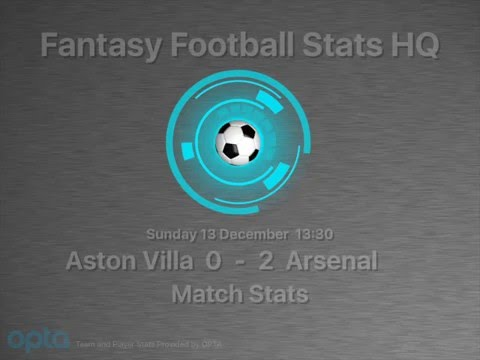 Aston Villa 0 - 2 Arsenal - OPTA Match Stats - 13th Dec 2015
