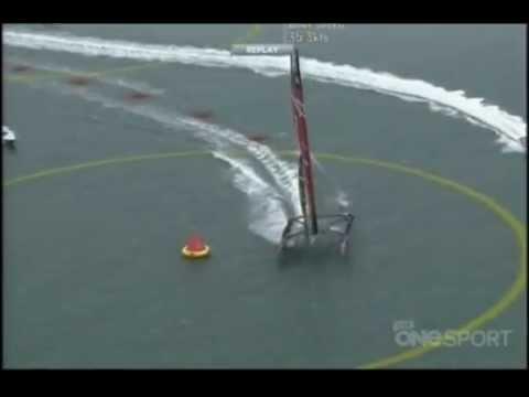 Emirates Team New Zealand - Race 1 of the Louis Vuitton Cup Final at mark 4 Emirates Team New Zealand nose dives spectacularly resulting in two crew over board. No one was hurt in the c...
