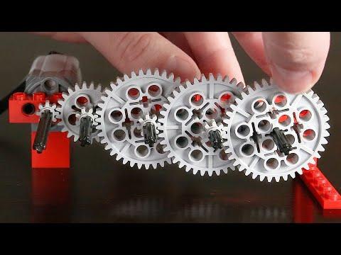 Создание длинной зубчатой передачи с помощью 186 Лего шестеренок