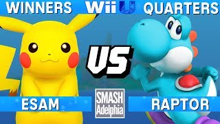 This Super Smash Bros. 4 Wii U tournament match features ESAM as Pikachu vs Raptor as Yoshi. This Winners Quarters match at SMASHADELPHIA 2017 was livestreamed on 06/25/17.Enjoy the video? Hit the like button and drop a comment and let us know your favorite part. Share it with your friends and spread the hype!Check out our website:► http://clashtournaments.comWatch our live streams:► http://twitch.tv/clashtournaments► http://hitbox.tv/clashtournamentsFind us on social media:► http://facebook.com/clashtournaments► http://youtube.com/clashtournaments► http://twitter.com/clashtournament► http://instagram.com/clashtournamentsBe sure to Follow and Subscribe to us to keep up to date on all of our content. Click the bell next to the subscribe button to receive instant notifications on all uploads!