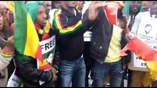 Angry Ethiopians In Switzerland Burned TPLF Logo