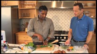 Chef Biju Thomas demonstrates how to pan-saute scallops and serves them with healthy, delicious sides.