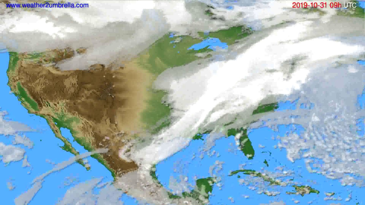 Cloud forecast USA & Canada // modelrun: 12h UTC 2019-10-29