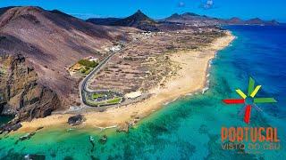 porto santo, porto santo island, golden island, madeira islands, beach, drone view, vila baler