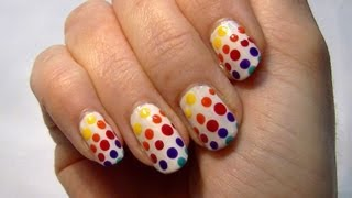 • Rainbow Spotty Nails! Cute & Easy Nail Art Polish Tutorial (How to) • - YouTube