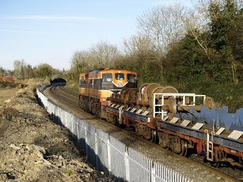 Dublin Cork Line - Iarnród Éireann's 071 class No. 086 leads a Cork-Dublin North wall empty cement train seen close to MP9 on the Dublin-Cork line on 04-April-2007. The train h...