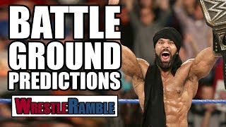WWE Battleground predictions from Luke and Oli in this latest WrestleRamble.Subscribe to WrestleTalk for daily WWE and wrestling news! https://goo.gl/WfYA12WWE Battleground 2017 predictions - 10:03Support WrestleTalk on Patreon here! http://goo.gl/2yuJpoFULL WWE BATTLEGROUND 2017 CARDKICK OFF: Tye Dillinger vs Aiden EnglishBreezeango To Be Concluded...Sami Zayn vs Mike KanellisCharlotte vs Becky Lynch vs Natalya vs Tamina vs Lana (Fatal 5-Way Elimination)AJ Styles vs Kevin Owens (United States Championship)Shinsuke Nakamura vs Baron CorbinThe Usos vs The New Day (Smackdown Tag Team Championships)Rusev vs John Cena (Flag Match)Jinder Mahal vs Randy Orton (Punjabi Prison, WWE Championship)Subscribe to the WrestleTalk Podcast Network on iTunes: https://goo.gl/783yg4Catch us on Facebook at: http://www.facebook.com/WrestleTalkTVFollow us on Twitter at: http://www.twitter.com/WrestleTalk_TV