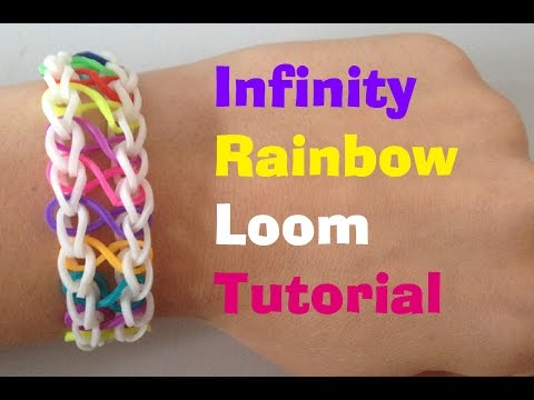 Loom Bands INFINITY Rainbow loom bracelet Tutorial l JasmineStarler