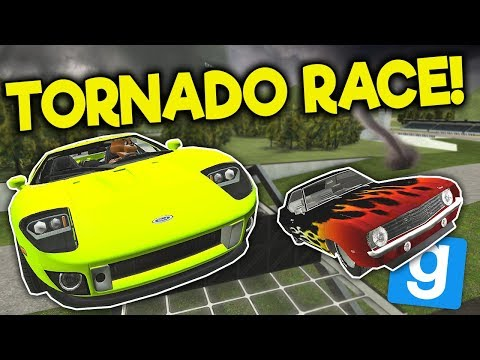 Garrys Mod - STUNT RACE ENDS IN TORNADO SURVIVAL! - Garry's Mod Gameplay - Gmod FNAF Roleplay Survival