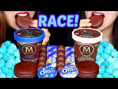 ASMR RACE! MAGNUM ICE CREAM PINTS, OREO CHOCOLATE EGG, COTTON CANDY BALLS, KINDER BUENO, CHOCO PIE먹방