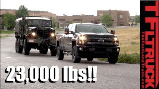 Will a 2016 Chevy Silverado HD Pull a 23,000 lbs Military 6X6 M925a2 Up Hill in the Rain? by The Fast Lane Truck