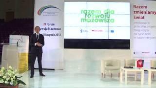 Wystąpienie Mariusza Frankowskiego p.o. dyrektora MJWPU - IV Forum Rozwoju Mazowsza