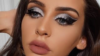BLACK & SILVER CUT CREASE MAKEUP TUTORIAL | Carli Bybel by Carli Bybel