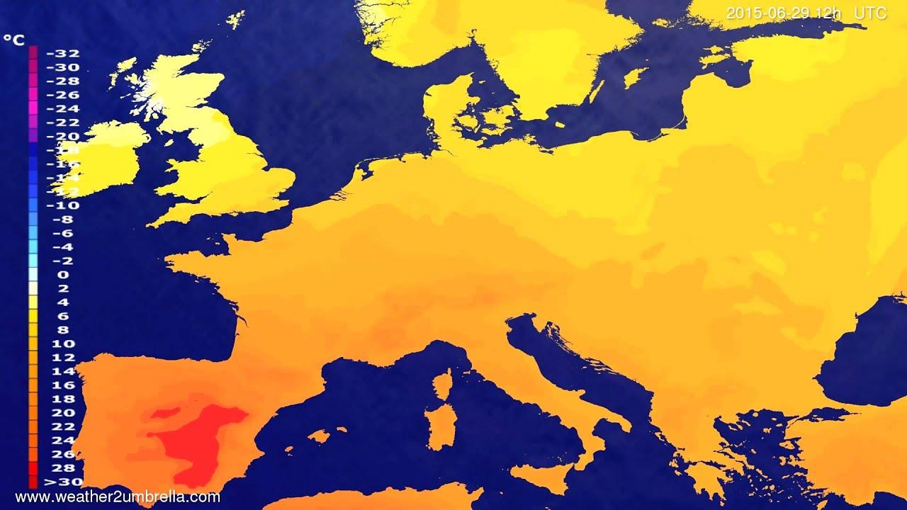 Temperature forecast Europe 2015-06-26